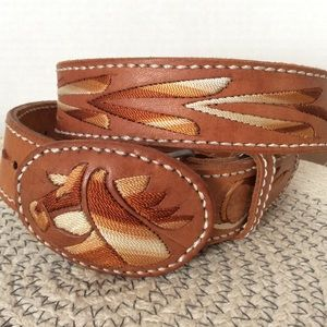 Horse Cowboy USA embroidered belt